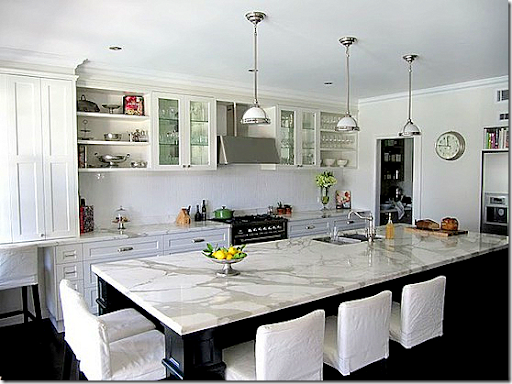 Black Cabinetry On The Island Mixed With Gorgeous White Marble. This Marble  Does Look Polished, Though. The Owner Actually Just Contacted Me And Said  The ...