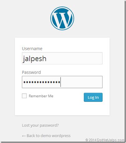 give login credentials wordpress admin windows azure