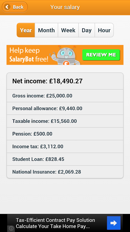 SalaryBot Salary Calculator - screenshot