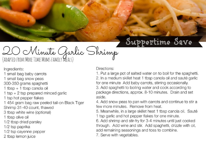 Garlic Shrimp Recipe Card