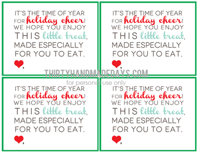christmas treat printable