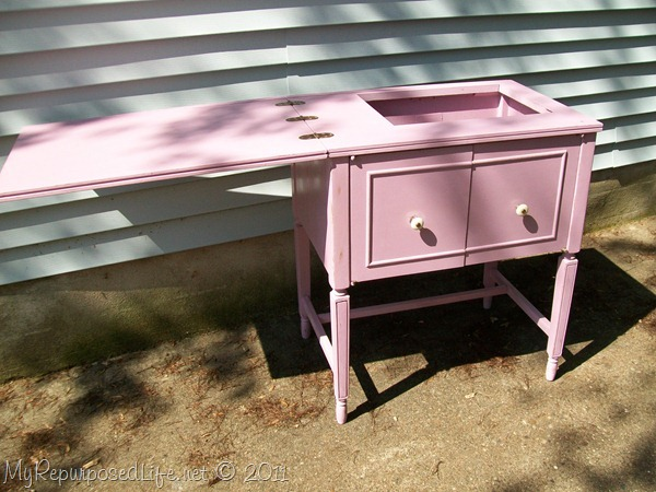 chalk paint makeover sewing cabinet