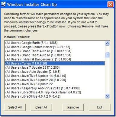 Problema a installare iTunes pacchetto di installazione iTunes msi