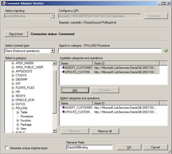 Calling Stored Procedure Oracle 11g Using WCF-Custom