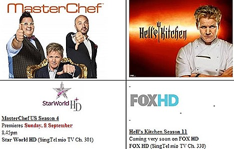 Gordon Ramsay MasterChef US Season 4 Star World HD Hell's Kitchen Season 11 FOX HD channels SINGAPORE HAWKER HEROES SINGTEL CHALLENGE - Jumbo Seafood Tian Tian Chicken Rice 328 Katong Laksa premiere mio TV