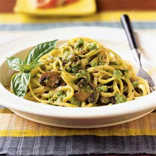 Linguine with Basil-Pea Cream
