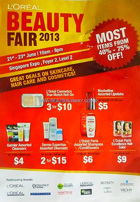 L'OREAL WAREHOUSE SALE 2013 SINGAPORE EXPO BEAUTY FAIR VICHY serum whitening LA ROCHE-POSAY SKINCARE mask moisturiser cleanser toner REDKEN mask shampoo conditioner MAYBELLINE COSMETICS lipsticks,mascaras GARNIER MEN MATRIX