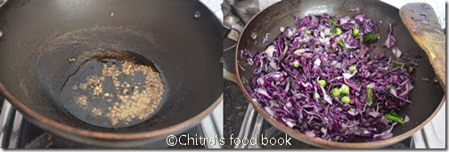 purple cabbage poriyal step by step