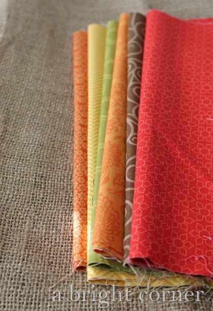 burlap and fall color fabrics