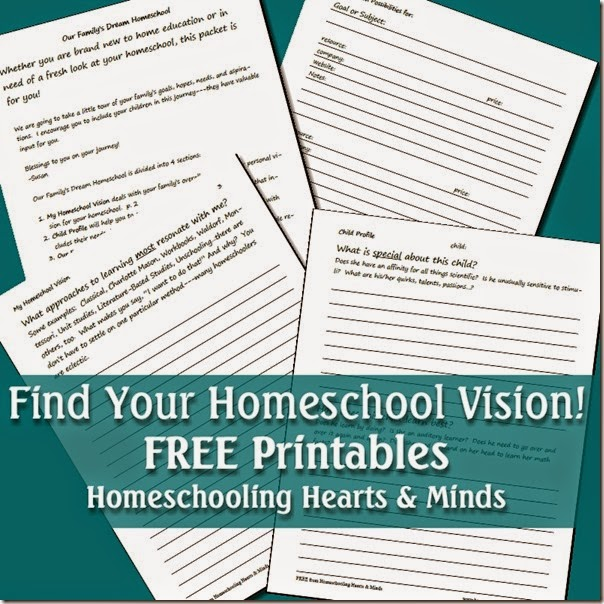Our Family's Dream Homeschool is a FREE printable, 15 page packet designed to help you work through what your family wants to achieve by educating your kids at home and how you're going to get there.  Homeschooling Hearts & Minds