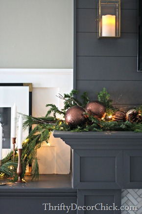 brown ornaments with garland