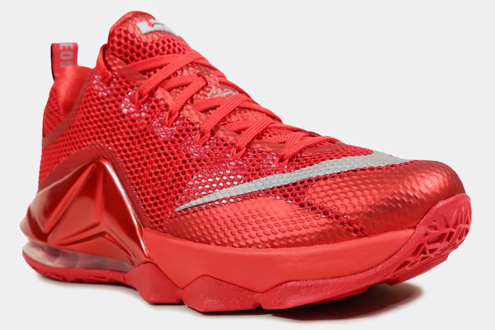 92f3bdce2fc26 ... 8220All Over Red8221 Nike LeBron 12 Low is Available at Eastbay ...
