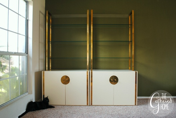 Abby and Brass and White Lacquer Etageres