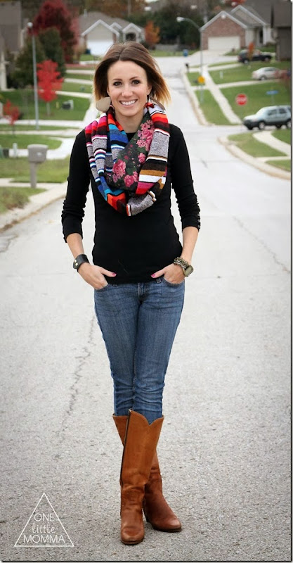 Serape scarf, black tee and vintage boots