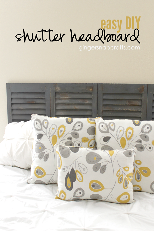 Easy DIY Shutter Headboard at GingerSnapCrafts.com #wermemorykeepers #DIY #tutorial