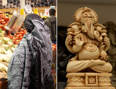 Produce, Lord Ganesh, and gluten-free snack mix