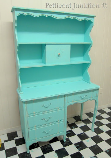 Turquoise Painted Furniture Desk Before After