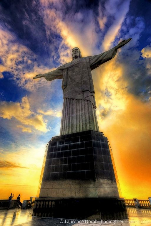 Christ the redeemer at sunset Brazil Rio