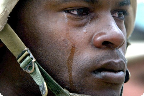 soldier crying