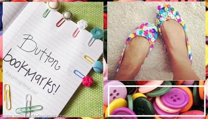 botões em marcador de livro e sapato