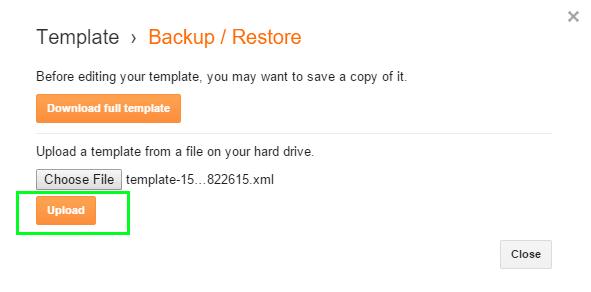 Sao lưu (Backup) và khôi phục (Restore) giao diện Blogger