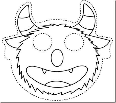 Teaching the little ones english owl and monster masks for Mosnter template