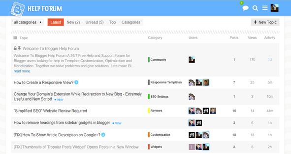 Blogger Help Forum Interface