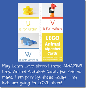 FREE Lego Animal Alphabet Cards for Kids