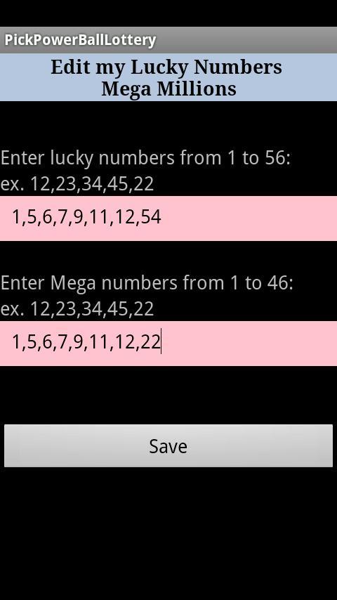 Pick Lottery Powerball - screenshot