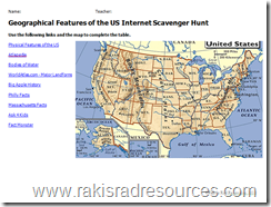 Free Internet Scavenger Hunt for the Geographical Features of the US including the Mississippi River, Appalachain Mountains, Gulf of Mexico, Erie Canal, Hudson River and more.