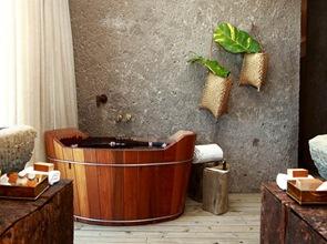 lavabo-de-piedra-bañera-de-madera