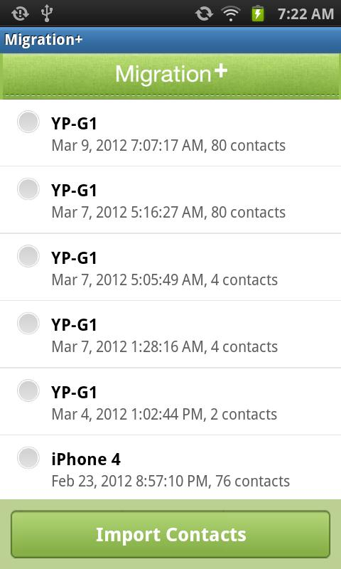 Migration+ (transfer contacts) - screenshot