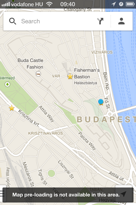 Google Maps pre-loading not available in Budapest