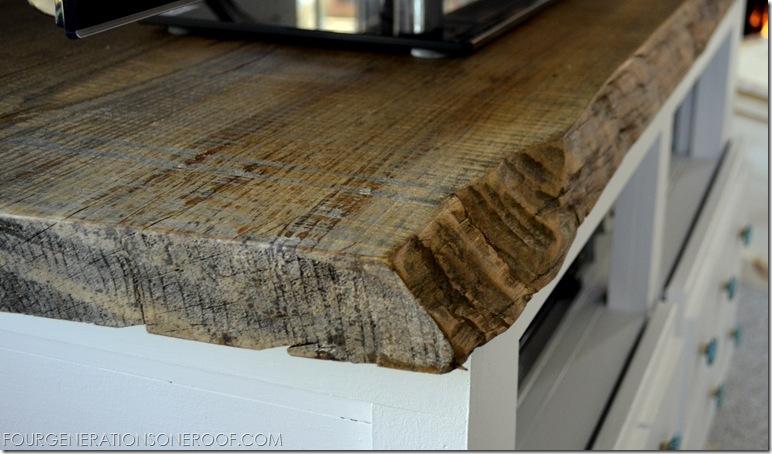Reclaimed lumber close up top