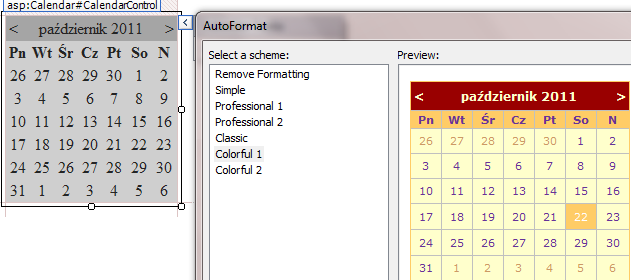 stylizacja controlki Calendar