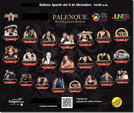Palenque Feria de Leon 2015 cartelera de conciertos