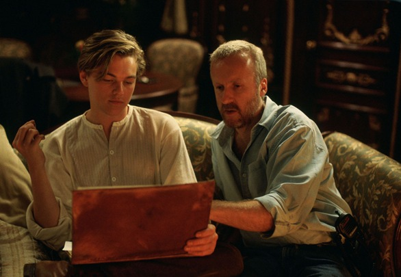 leonardo dicaprio and james cameron in TITANIC set