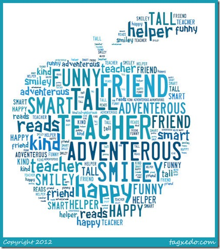 apple teacher word collage