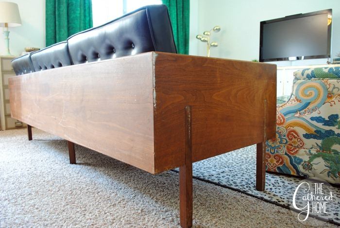 found vintage midcentury wood case sofa5