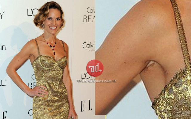 Photo of Hilary Swank with armpit hair