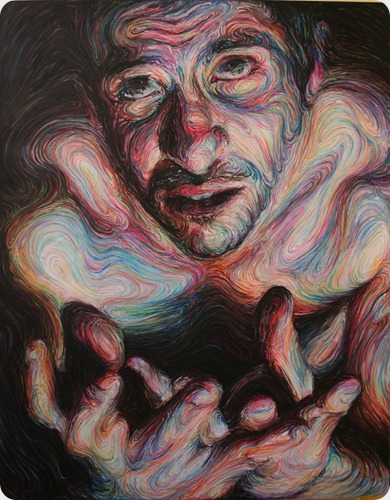 gyftakis  self portrait,oil pastel on canvas h190xw150cm