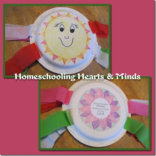 Make a Bean Tambourine!  Sticker download included from Homeschooling Hearts & Minds