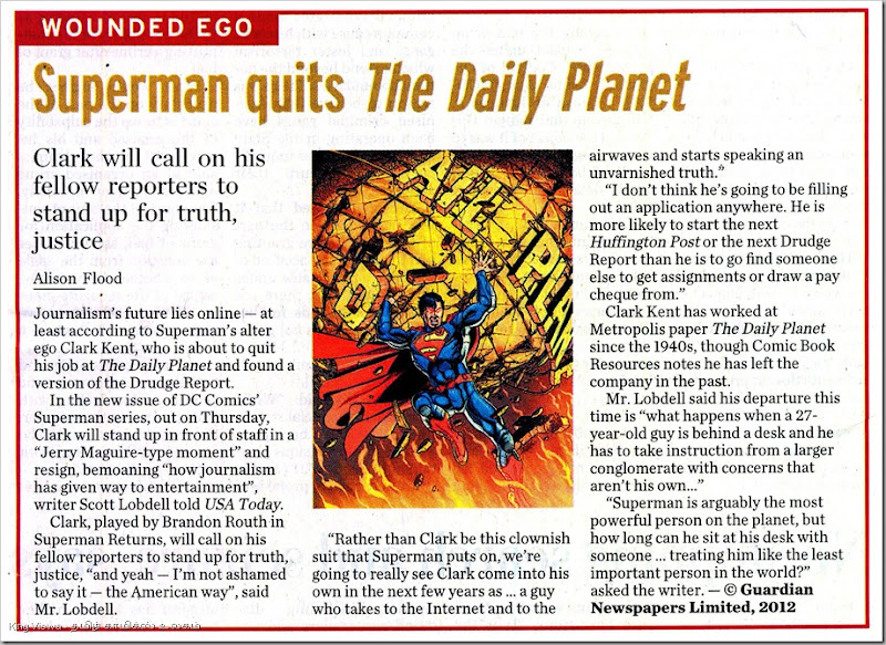 The Hindu Daily Chennai Edition Page No 14 Dated  Thursday 25th Oct 2012 Superman Quits Daily Planet