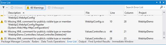 Warning: falta comentario XML