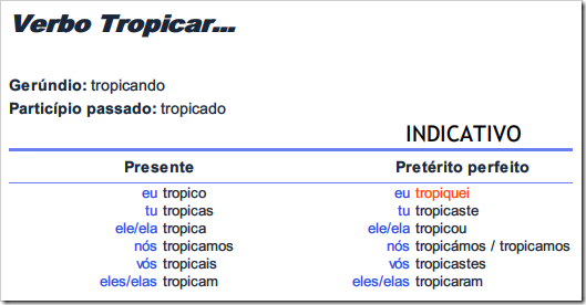 Verbo tropicar