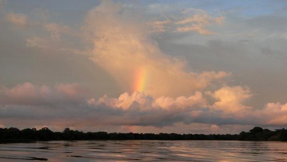 Arco-íris no Lago Mamirauá