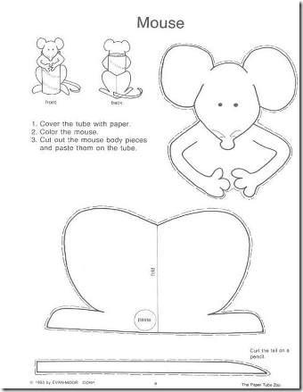 Moldes para crea un RATÓN con un tubo de higiénico