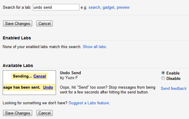 Undo Send Gmail Labs