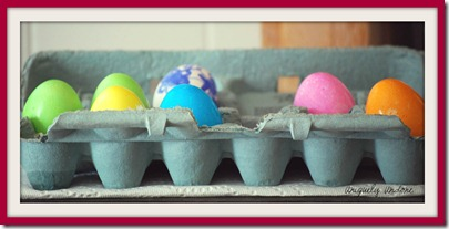 Dyed eggs framed