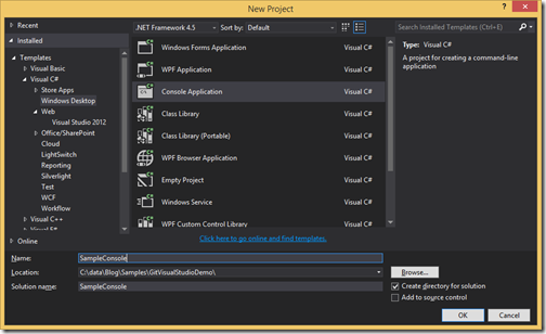 Sample-Console-Application-Visual-Studio-git-bitbucket